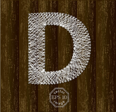 threads: Letter D, made with threads on pins
