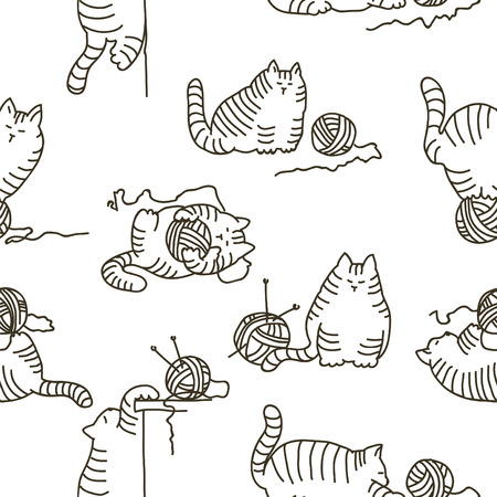 child ball: Seamless silhouette-line  background with cute well-fed playful cats