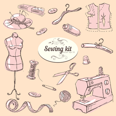 kit de costura: Conjunto de dibujado a mano elementos de kit de costura