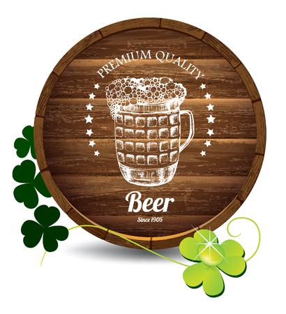 Barrel of beer, decorative hand drawn mug illustration on it  and clover leaves Stock Vector - 37591516