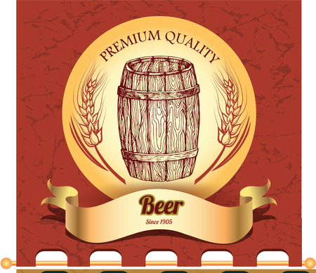 Banner with hand drawn barrel of beer Vector