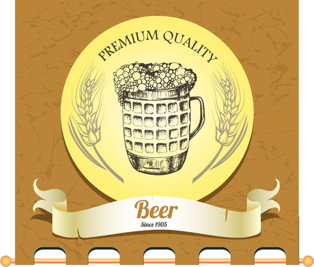 Banner with hand drawn mug of beer Vector