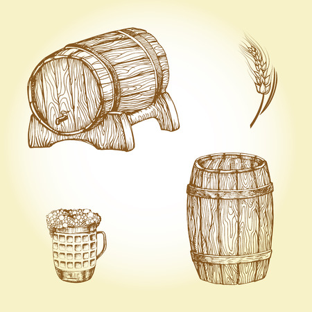 Set of drawing beer theme