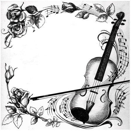 music theory: Perfect hand drawn illustration with Violin, roses and notes