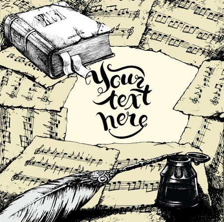 Achtergrond met notities, oude boek en veren en vrije ruimte fot uw mogelijke tekst binnen