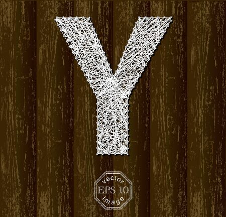 threads: Letter Y, made with threads on pins on wooden background. Part of collection. Illustration