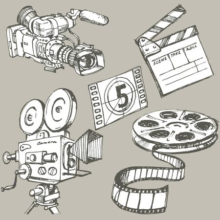 Set of movie make hand drawn objects Ilustração