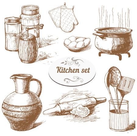 Set von Hand gezeichnet Küche-Objekte Vektorgrafik