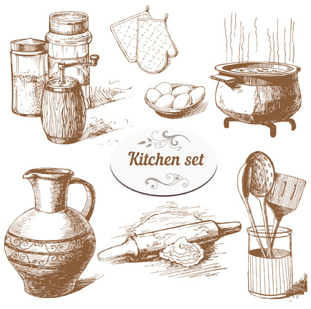 Set of hand drawn kitchen objects