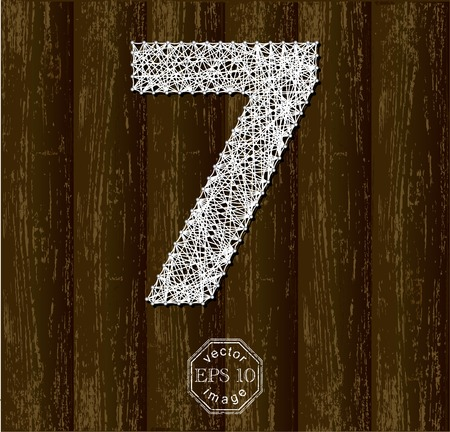 thread count: Number Seven, made with threads on pins. Part of collection letters and numbers