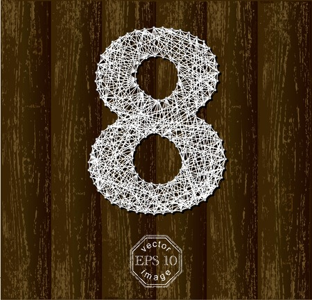 thread count: Number Eight, made with threads on pins. Part of collection letters and numbers Illustration