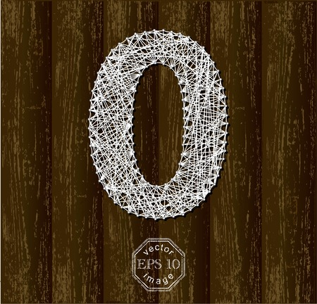 thread count: Number Zero, made with threads on pins. Part of collection letters and numbers