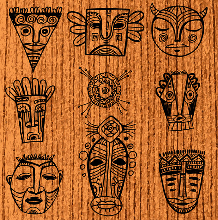 wood carving: Set of tribal african masks Illustration
