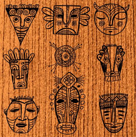 tiki head: Set of tribal african masks Illustration