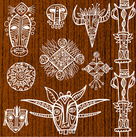 tiki head: Set of tribal african masks and decorative elements