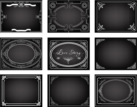 Set of nine old silent movie  title frames Stok Fotoğraf - 38677706