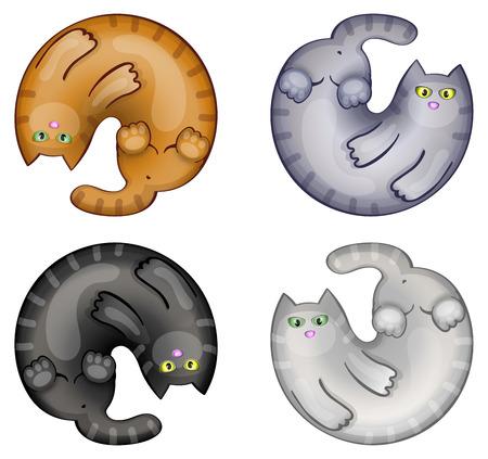 Set of funny cartoon circle cats Vector