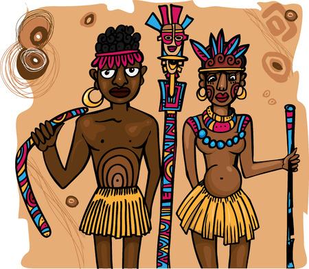 loincloth: Aboriginal man and woman near totem Illustration