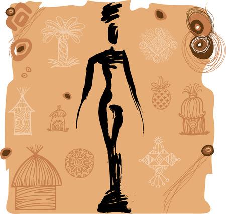aborigine: Aborigine girl silhouette