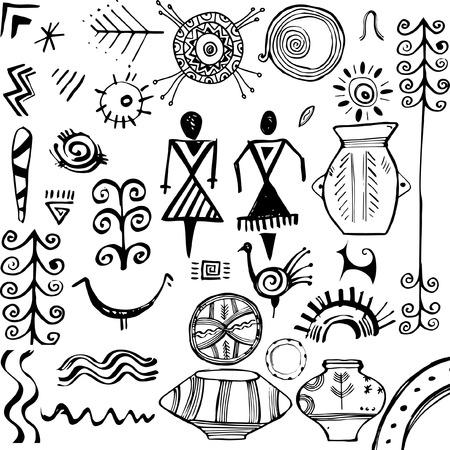 slavic: Set di elementi disegnati a mano motivi popolari slavi