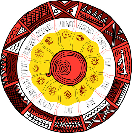 black ancestry: Slavic round decorative calendar