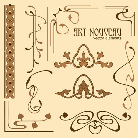 old photo border: Set of art nouveau decorative elements for your designs Illustration