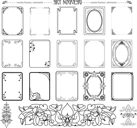 romantic picture: Set of frames and elements in art nouveu style Illustration