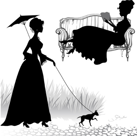 Set of silhouettes old fashioned women Imagens - 39523932