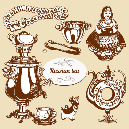 russian cuisine: Set of hand drawn elemnts of Russian culture teatime