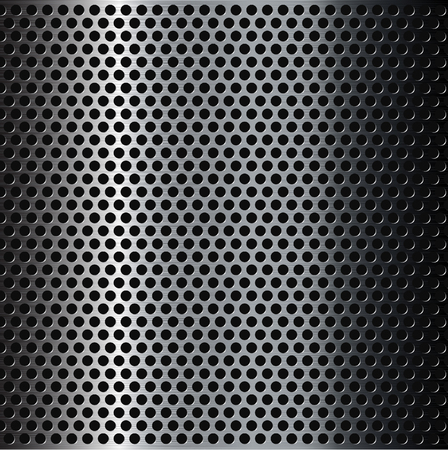 grid: Perforated brushed metal grid background.