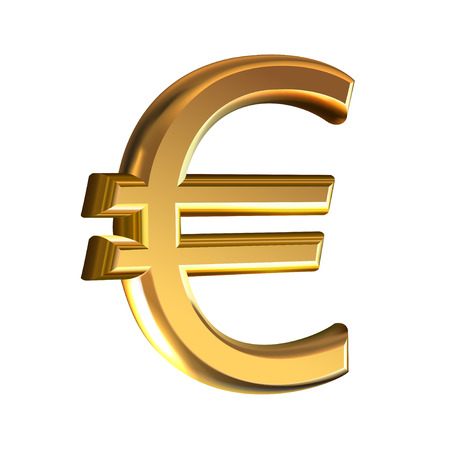 Extruded golden sign of Euro vector illustration