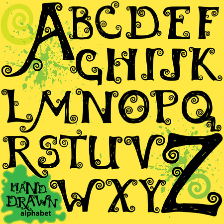 all caps: Set of capital letters of curled alphabet, hand drawn abc for ypur design.