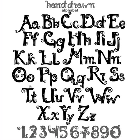 abc: Set of letters  and numbers of curled alphabet, hand drawn abc for your design. Illustration