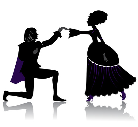 Silhouette of young royal romantic couple, dancing on ball Vettoriali