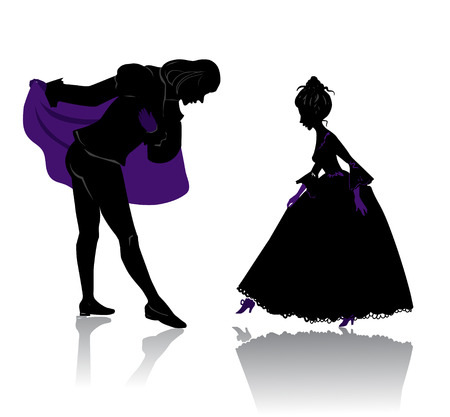 medieval woman: Silhouette of young royal romantic couple, preparing to dance on ball