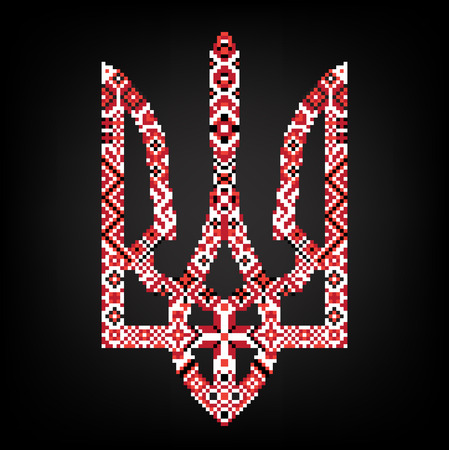 Ukraine coat of arms with red and black embroidery Illustration