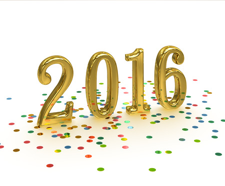 3D Gold Year 2016 on white background with confetti