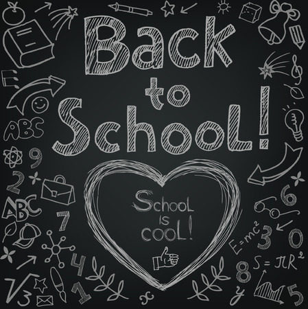 apple computers: Back to school lettering with doodles Illustration