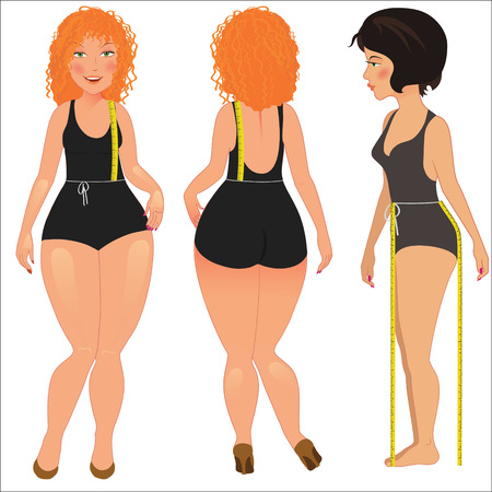 sexy belly: Measuring woman body. vector illustration Illustration