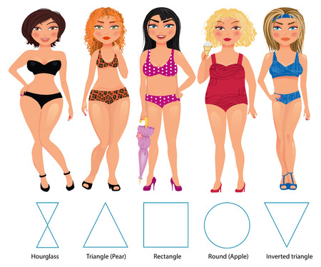 type: Five types of woman figures: hourglass, triangle, restangle, round and inverted triangle, vector hand drawn illustration