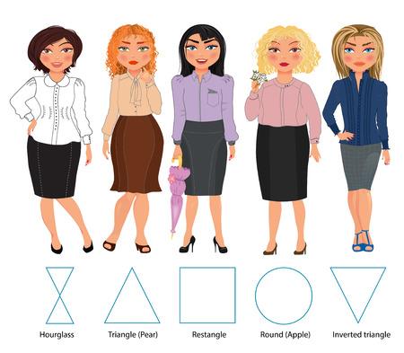 tipos: Ilustración de reloj de arena, triángulo, restangle, redondas y triángulo invertido, dibujado mano vector: Cinco tipos de figuras mujer en vestidos bussiness