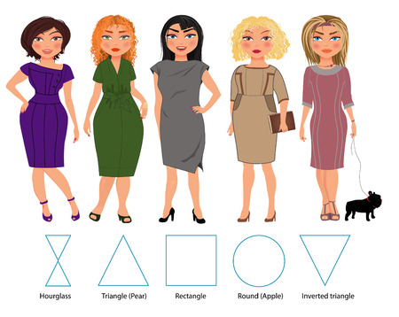Five types of woman figures in bussiness dresses: hourglass, triangle, restangle, round and inverted triangle, vector hand drawn illustration Vettoriali