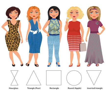 Recommended styles of daily clothes for 5 types of female figures: hourglass, triangle, rectangle, round and inverted triangle, vector hand drawn illustration (part of collection)
