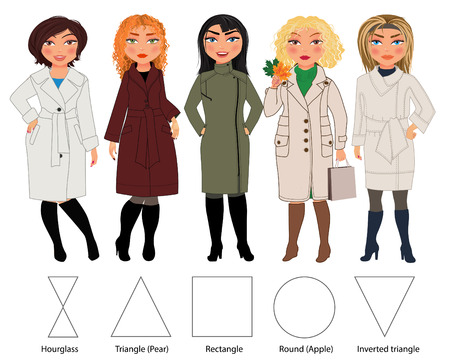 outumn: Recommended styles of coats for 5 types of female figures: hourglass, triangle, rectangle, round and inverted triangle, vector hand drawn illustration( part of collection) Illustration