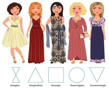 evening dresses: Recommended styles of evening dresses for 5 types of female figures: hourglass, triangle, rectangle, round and inverted triangle, vector hand drawn illustration Illustration