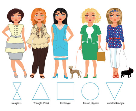 women body: Recommended styles of daily clothes for 5 types of female figures: hourglass, triangle, rectangle, round and inverted triangle, vector hand drawn illustration