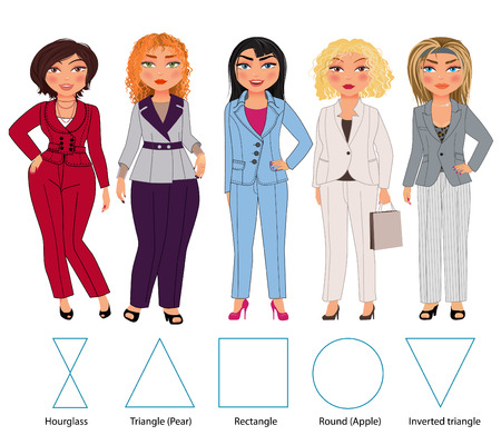 Recommended styles of daily clothes for 5 types of female figures: hourglass, triangle, rectangle, round and inverted triangle, vector hand drawn illustration