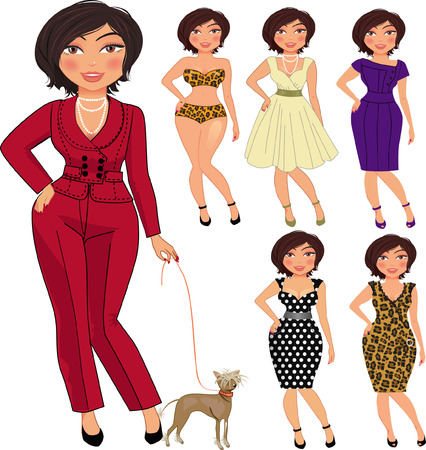 feminine beauty: illustration of pretty woman in different clothes