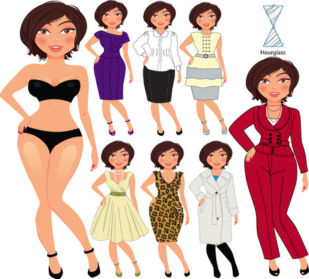 Recommended fashion style for hourglass type of woman figure, vector hand drawn illustration, part of collection Imagens - 43689948