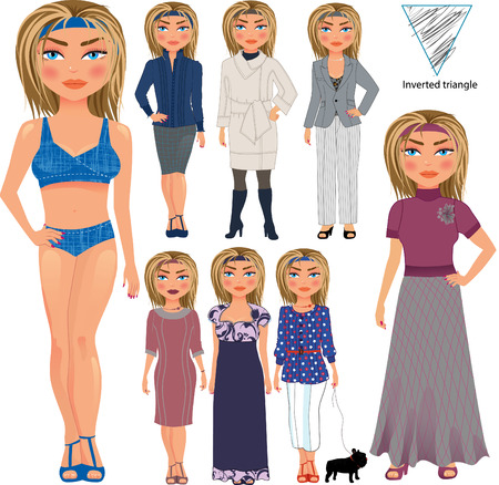 Recommended fashion style for inverted triangle type of woman figure, vector hand drawn illustration, part of collection Imagens - 43686744